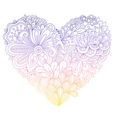 colorful doodle flowers heart vector image