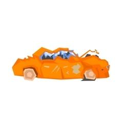 Completely crashed orange car vector