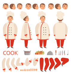 Cook animation chef characters body parts hands vector