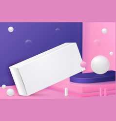 Corner wall abstract scene with paper box vector