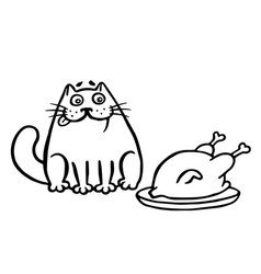 Cute cat and fried chicken on the table isolated vector