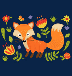 Cute fox and plants vector