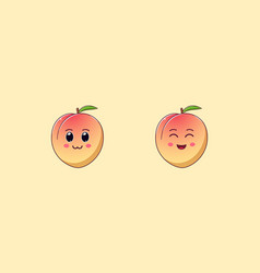 Cute kawaii peach cartoon ripe fruit vector