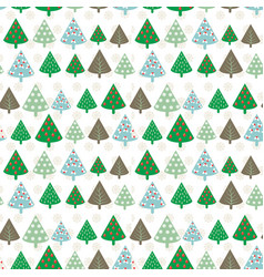 cute seamless pattern with vintage christmas tree vector image