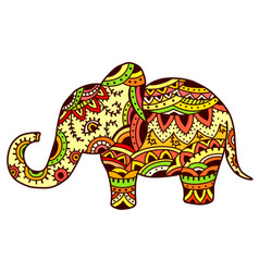 decorative elephant in ethnic pattern vector image