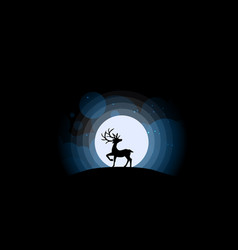 deer looking at the full moon vector image