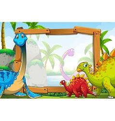 Dinosaurs around wooden frame vector