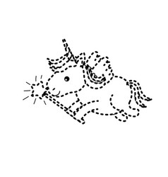Dotted shape beauty unicorn with wings and magic vector