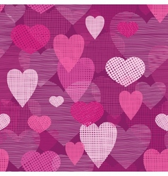 Fabric hearts romantic seamless pattern background vector image