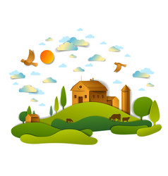 Farm in scenic landscape of fields and trees and vector