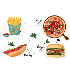 Fast food colorful collection realistic vector