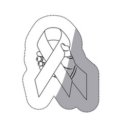 figure breast cancer symbol in the hand vector image