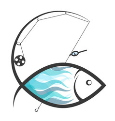 Fish and fishing rod vector