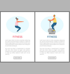 fitness websites squats and bicycle exercise vector image