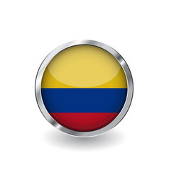 Flag of colombia button with metal frame and vector