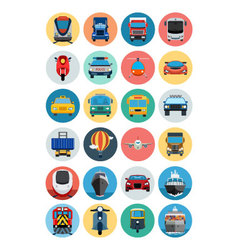 Flat Transport Icons 1 vector image