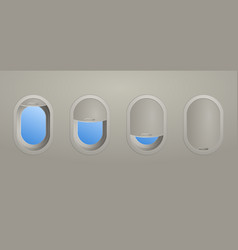 four aircraft windows showing blinds opened vector image