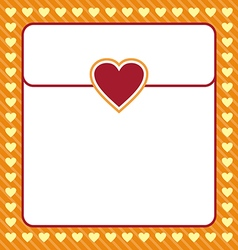 Frame shaped from yellow heart on orange vector image