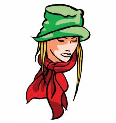 girl with hat vector image