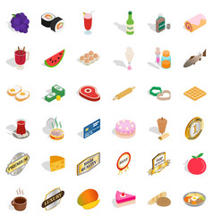 Grocery icons set isometric style vector