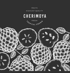 hand drawn sketch style cherimoya banner organic vector image