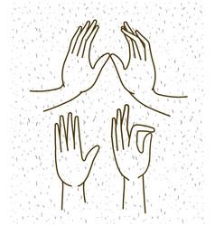 hands gestures set drawing vector image