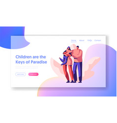 Happy loving parent and children landing page vector