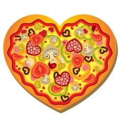 heart shaped pizza vector image