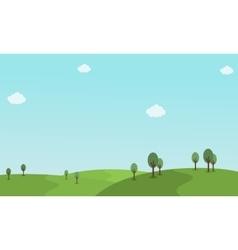 Hill landscape with cloud vector