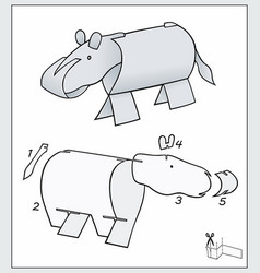 Hippo from pieces paper composite figure vector