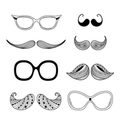 Hipter glasses mustaches Hipsters vector