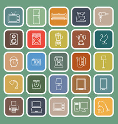 Household line flat icons on green background vector