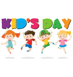 Kids day poster with kids jumping vector