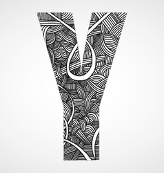 Letter y from doodle alphabet vector