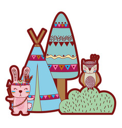 Line color rabbit and owl animal with camp and vector