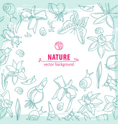 Line flowers background vector