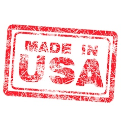 Made in USA red grunge rubber stamp vector image