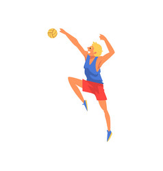 Male volleyball player blocking ball professional vector