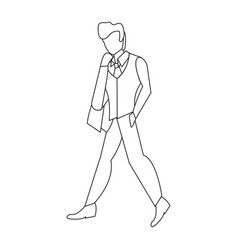 Man standing linear vector