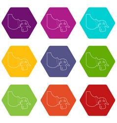 manual breast pump icons set 9 vector image