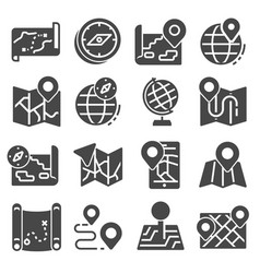 map icons and location icons set vector image