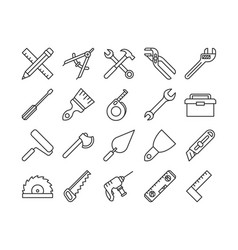 Mechanical tools line icons vector
