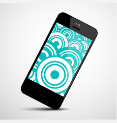 mobile phone icon with retro circles flat design vector image