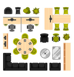 modern office furniture top view vector image