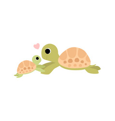 mother tortoise and its baby cute turtles family vector image