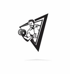 Muscle man lift barbel character vector