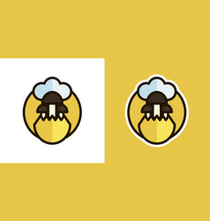 mushrooms and grass logo icon sign isolated on vector image