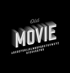 Old movie style vintage font design retro style vector