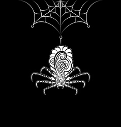 Ornate spider on the web vector image