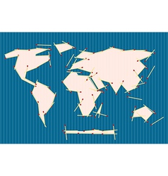 Paper World Map Made from Matches on Blue Ba vector